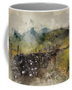 Watercolor Painting Of Stunning Landscape Of Chrome Hill And Parkhouse Hill Dragon's Back In Peak Di Coffee Mug