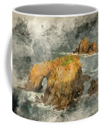 Watercolor Painting Of Stunning Sunrise Landscape Of Land's End In Cornwall England Coffee Mug