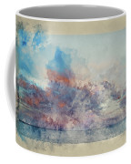 Watercolor Painting Of Stunning Sunset Cloud Formation Over Calm Sea Landscape Coffee Mug