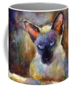 Watercolor Siamese Cat Painting Coffee Mug by Svetlana Novikova