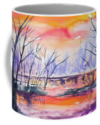 Watercolor - Sunrise At The Pond Coffee Mug