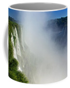 Waterfalls On Both Sides Of The River  At Devil's Throat In Iguazu Falls National Park-argentina   Coffee Mug
