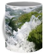 Wave Splash On The Green Rock Coffee Mug
