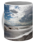 Waves Breaking Against The Beach And Cloud Streaming Above  Skegness Lincolnshire England Coffee Mug