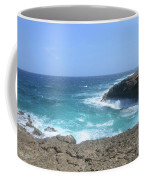 Waves Crashing On To The Lava Rock At Daimari Beach Coffee Mug