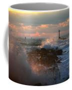 Waves Crashing Over The Jetty Coffee Mug
