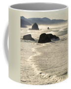 Waves Roll Ashore On The Oregon Coast Coffee Mug