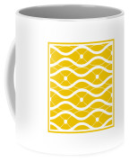 Waves With Border In Mustard Coffee Mug