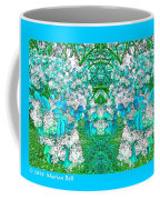Waxleaf Privet Blooms In Aqua Hue Abstract With Aqua Frame Coffee Mug