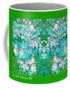 Waxleaf Privet Blooms In Aqua Hue Abstract With Green Frame Coffee Mug