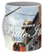 Welcome To Little Italy Sign In Lower Manhattan. Coffee Mug