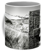 Western Barbed Wire Fence Black And White Coffee Mug