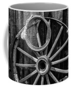 Western Rope And Wooden Wheel In Black And White Coffee Mug