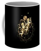 Western Zodiac - Golden Gemini - The Twins On Black Canvas Coffee Mug
