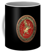 Western Zodiac - Golden Leo - The Lion On Black Velvet Coffee Mug