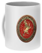 Western Zodiac - Golden Leo - The Lion On White Leather Coffee Mug