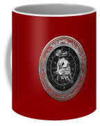 Western Zodiac - Silver Taurus - The Bull On Red Velvet Coffee Mug