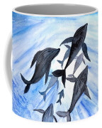 Whale Family On Sun Ray Coffee Mug