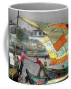 Whatever It Takes - Makeshift Sail At Tema Harbor Coffee Mug