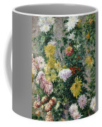 White And Yellow Chrysanthemums Coffee Mug by Gustave Caillebotte