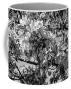 White Blossoms In Black And White Coffee Mug