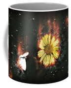 White Butterfly And Yellow Flower Coffee Mug