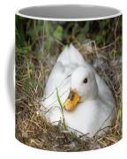 White Call Duck Sitting On Eggs In Her Nest Coffee Mug