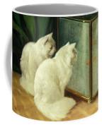 White Cats Watching Goldfish Coffee Mug by Arthur Heyer