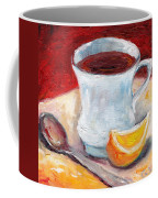 White Cup With Lemon Wedge And Spoon Grace Venditti Montreal Art Coffee Mug