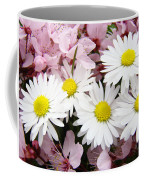 White Daisies Flowers Art Prints Spring Pink Blossoms Baslee Coffee Mug