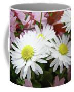 White Daisy Floral Art Print Canvas Pink Blossom Baslee Troutman Coffee Mug