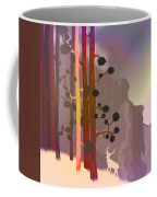 White Deer Climbing Mountains - Abstract And Colorful Forest Coffee Mug