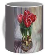 White-edged Red Tulips Coffee Mug