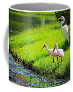 White Egret And Roseate Spoonbills Coffee Mug