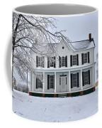 White Farm House During Winter Coffee Mug