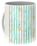 White Finger Starfish Watercolor Stripe Pattern Coffee Mug