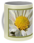 White Flower Abstract With Border Coffee Mug