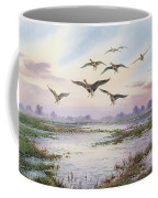 White-fronted Geese Alighting Coffee Mug by Carl Donner