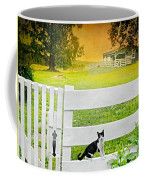 White Gate Cat Coffee Mug