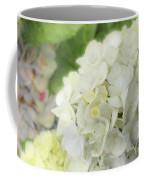 White Hydrangea At Rainy Garden In June, Japan Coffee Mug