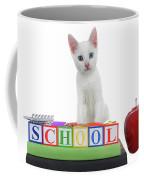 White Kitten Back To School Coffee Mug