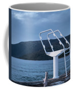 White Ladder Of A Diving Board At The Beach In Cres Coffee Mug