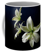 White Lilies On Blue Coffee Mug