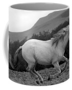 White Mare Gallops #1 -  Close Up Black And White Coffee Mug