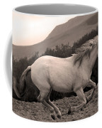White Mare Gallops #1 -  Close Up Sepia Coffee Mug