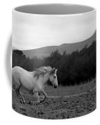 White Mare Gallops #1 - Panoramic Black And White Coffee Mug
