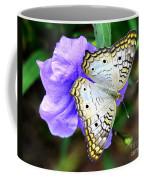 White Peacock Butterfly On Purple 2 Coffee Mug