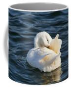 White Pekin Duck In Blue Water Preening Coffee Mug