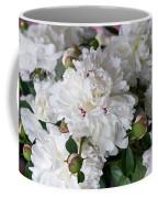White Peony With Red Traces Coffee Mug