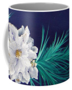 White Poinsettia On Blue Coffee Mug
